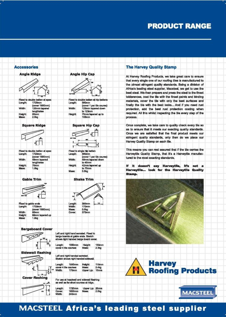 Harvey rooftile at Middelburg Dakkappe info sheet